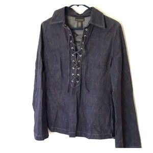 BANANA REPUBLIC. lace-front dark chambray tunic.